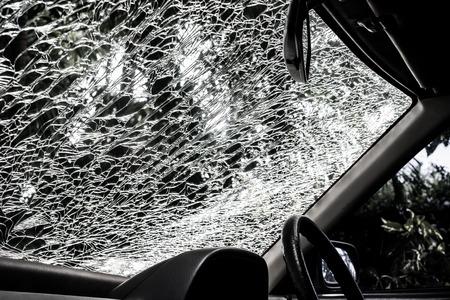 misadventure: Damaged glass pattern background, Car front glass damaged