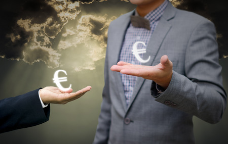 approbation: Businessman show euro money symbol in hand for agreement Stock Photo