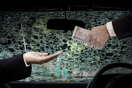 fatality: Car insurance concept, Businessman offer money for repair