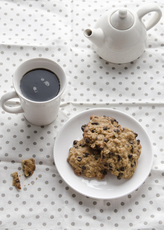 morning breakfast: Soft cookie with hot coffee at morning, Breakfast concept Stock Photo