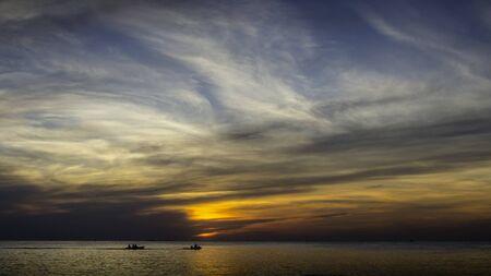 jet ski: Silhouette of sportsman with jet ski at sea