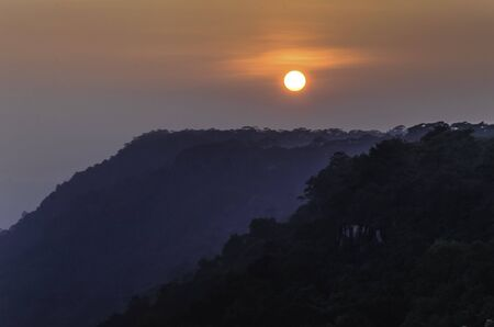 kradueng: Sunset sky at cliff, Phu Kradueng National Park, Loei, Thailand Stock Photo