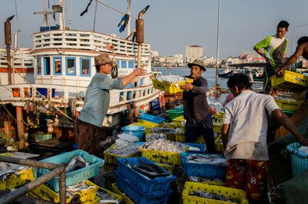 chonburi: CHONBURI, THAILAND - MAR 4 :  Unidentified worker carry fish basket to truck on 4 March, 2015 in Chonburi, Thailand