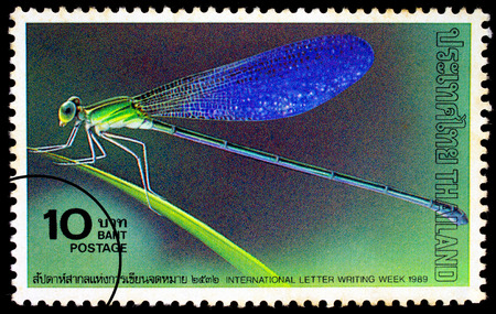 timbre postal: THAILAND - CIRCA 1989 : Painting of Dragonfly printed in Thailand circa 1989, The stamp for commemorate International letter writing week in 1989