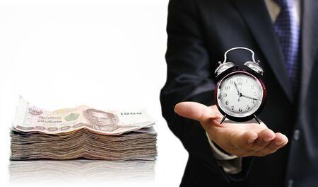 show bill: Tiempo para guardar el concepto de dinero Foto de archivo