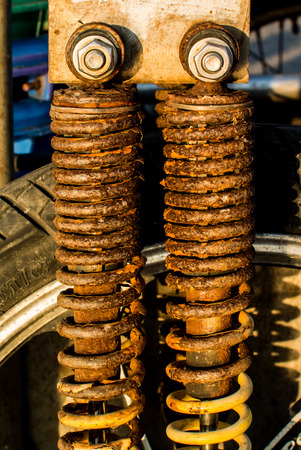 shock absorber: Shock Absorber with rusty condition Stock Photo