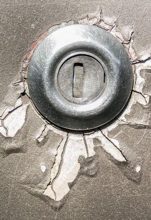 key hole: Old key hole with color damage Stock Photo