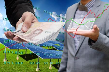 technolgy: Investor investment in solar energy business concept Stock Photo