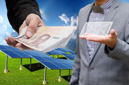 technolgy: Businessman get profit from solar energy business