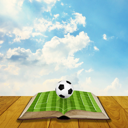 filed: Soccer education concept, Open book with soccer filed