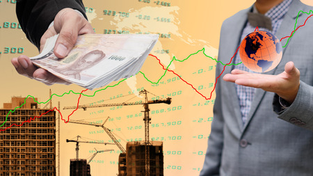 global economy: Global economy concept, Businessman get profit from property Stock Photo