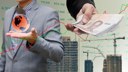 global economy: Global economy concept, Businessman get money from global property industry