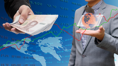 global economy: Businessman withdrawal from internet banking, Global economy concept Stock Photo