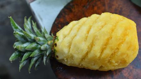 wooden block: Tropical fruit, Pineapple on wooden block