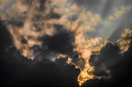sun ray: Nice sun ray with clouds in sky