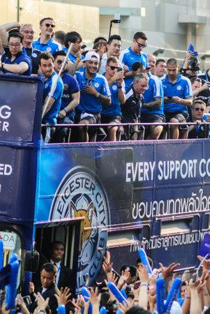 premier league: BANGKOK THAILAND - MAY : The victory parade of an English Football Club Leicester City, the champion of the 2015 - 2016 English Premier League, is held in Bangkok, Thailand on May 19, 2016.