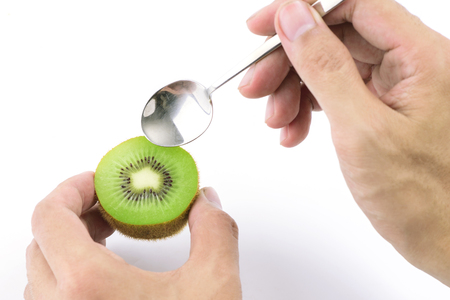 ready to eat: Juicy kiwifruit ready to eat Stock Photo
