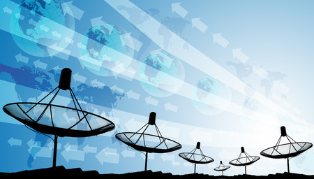 sattelite: Silhouete of satellite dish with graphic background, Abstract world technology concept Stock Photo