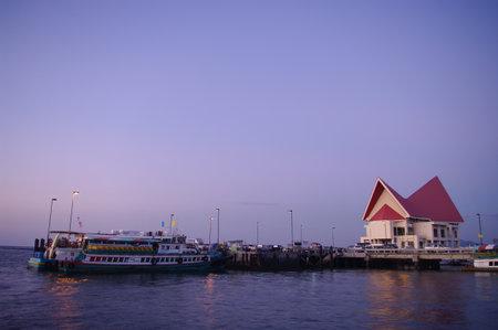 passenger ships: CHONBURI, THAILAND - DECEMBER 8 : Passenger ships at jetty with twilight sky on 8 December 2015 in Sriracha, Chonburi, Thailand Editorial