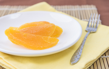 ready to eat: Dried mango in white dish ready to eat