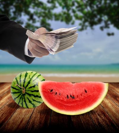 show bill: Businessman invest in fruit market concept