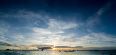 Panoramic view of sky and sea with Si Chang island background, Chonburi, Thailand