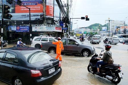 CHONBURI, THAILAND - OCT 3 : Flooding at Sriracha city after rainning on 3 October 2017 in Sriracha, Chonburi, Thailand Editorial