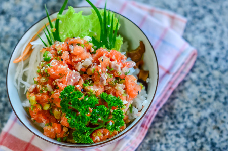 Rice with salmons, Japanese food