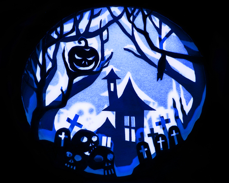 Halloween night concept, Real paper cut with invert light and shadow