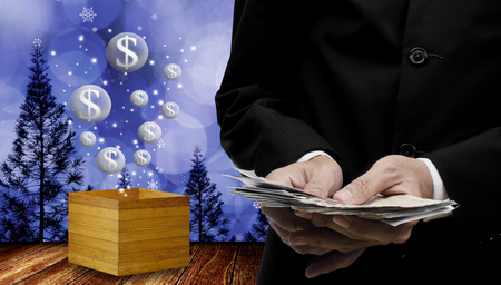 Businessman make money in Christmas event