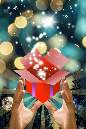Chirstmas gift concept, Hand open the gift box with christmas background