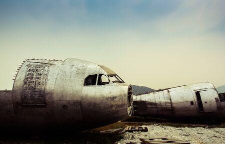 Plane wreck at abandon field, Thailand