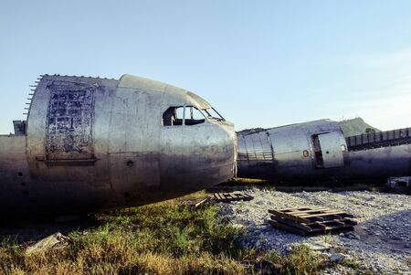 Plane wreck at abandon field, Thailand
