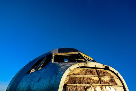 Head of damage aircraft close up shot with sky background