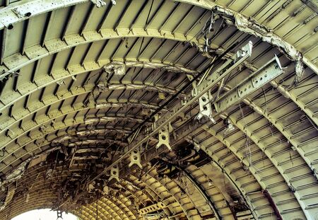 Ceiling structure of plane wreck close up shot