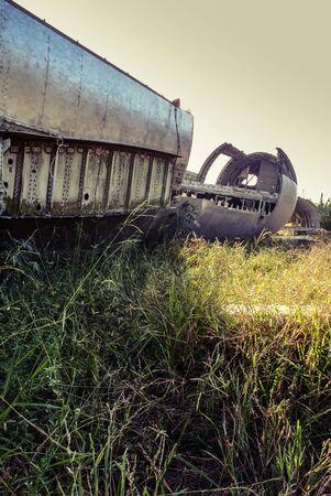Plane wreck at abandon field