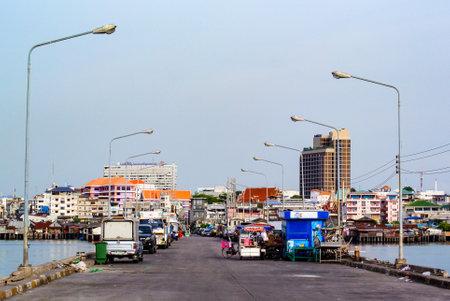 CHONBURI, THAILAND - 15 MAY : Street view at Sriracha dock on 15 May 2019 in Sriracha, Chonburi, Thailand