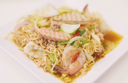 Noodles spicy salad with seafood