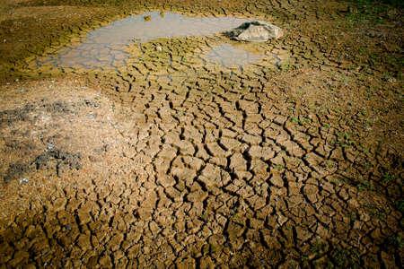 Cracked land and dried pond background Reklamní fotografie