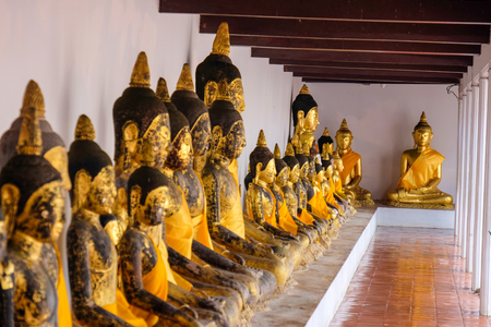 surat: the ancient buddha statues at Wat Phra Borommathat Chaiya Ratchaworawihan Surat thani Province, thailand