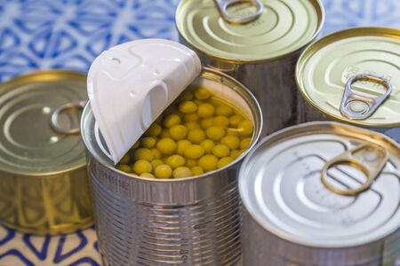 stock of canned at home. food storage during the epidemic