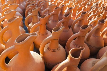 ceramic souvenirs, traditional pitchers at a flea market in Tbilisi