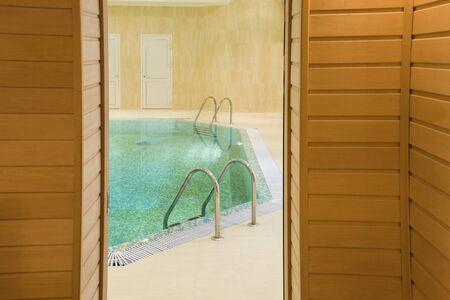 pool in sauna, fragment of the interior  Stok Fotoğraf