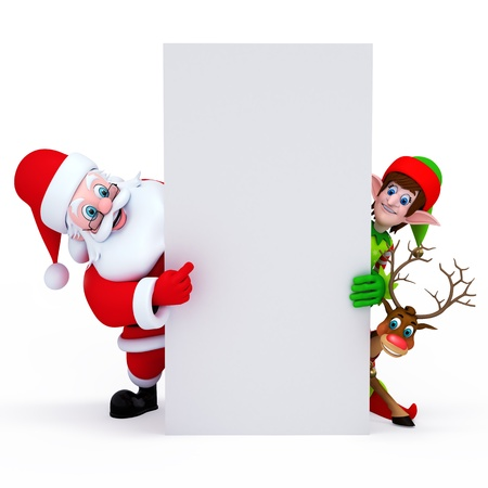 santa with elves and reideer holding white sign photo