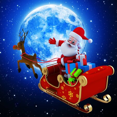 santa with his sleight near moon photo