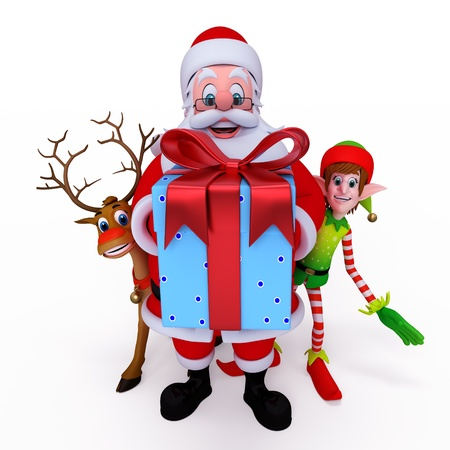 elves: Santa claus holding gift box with reindeer and elves