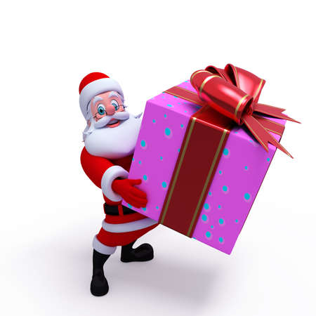 Santa claus with big gift box photo