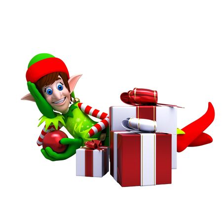 An illustration of Elves with Christmas Gift Stock Photo