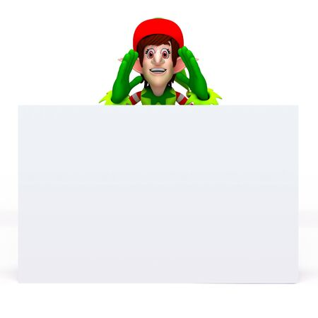An illustration of  elves with banner or sign ideal for text illustration
