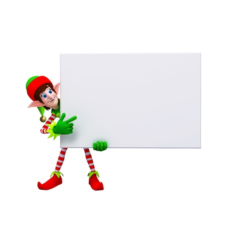 Christmas Santa Elf with sign Stock Photo - 11570964